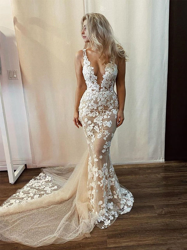 Sexy Deep V-neck Lace Appliqued Mermaid Long Cheap Wedding Dresses, WDS0048