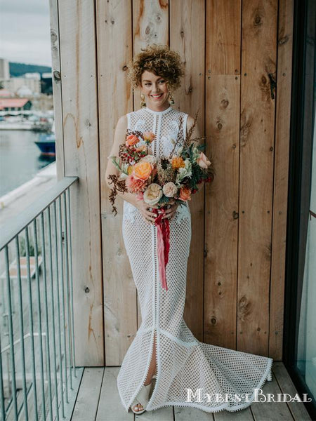 Unique Round Neck Lace Mermaid Long Cheap Wedding Dresses, WDS0015