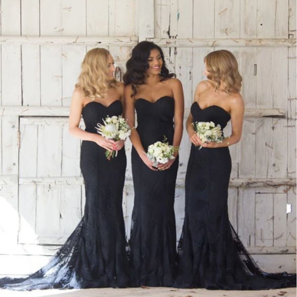 Modest Sweetheart Mermaid Black Satin & Lace Long Bridesmaid Dresses,Wedding Party Gowns,WGY0210