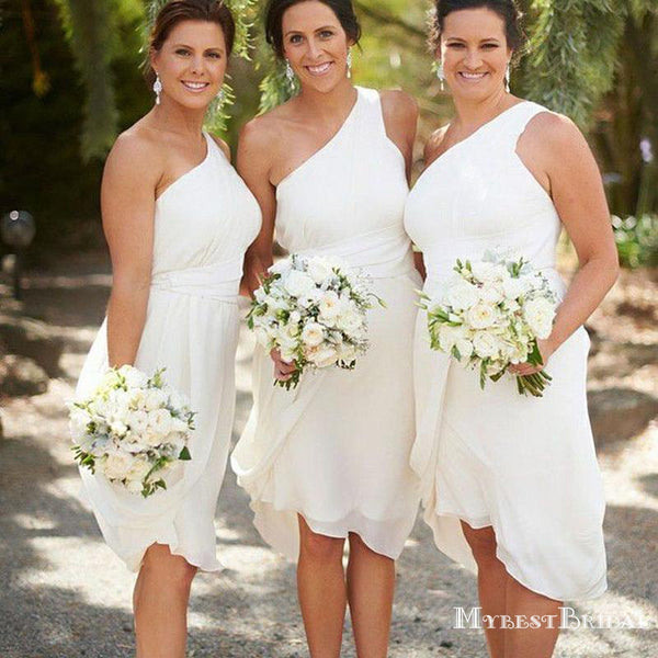 Simple White One Shoulder Sleeveless Short Chiffon Bridesmaid Dresses, TYP0031