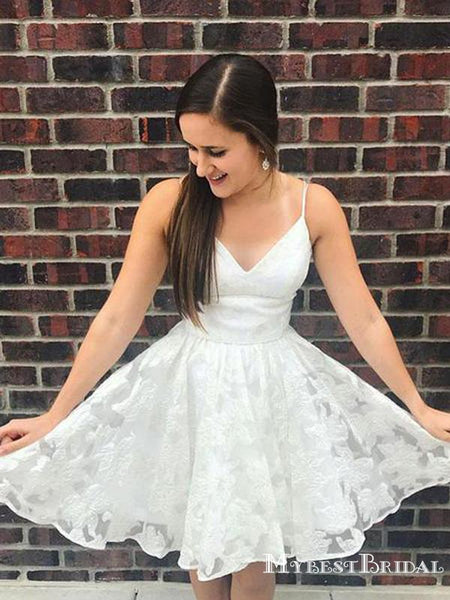 A Line Spaghetti Straps White Tulle Short Homecoming Dresses, TYP0051