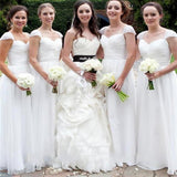 White Chiffon Simple Cap Sleeve Cheap Long Wedding Party Bridesmaid Dresses,WGY0138