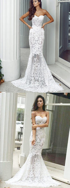Charming Sweetheart Long Mermaid Lace Wedding Dresses, Sexy Backless Tulle Bridal Gown, WDY0117