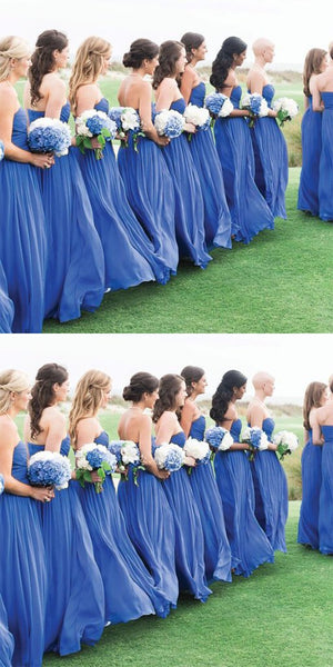 Blue Simple Formal Chiffon Floor Length  Bridesmaid Dresses,Bridesmaid Gown ,WGY0149