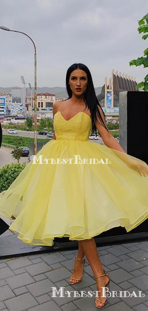 Sweetheart Yellow Organza Top Lace Applique A-line Short Cheap Homecoming Dresses, HDS0018