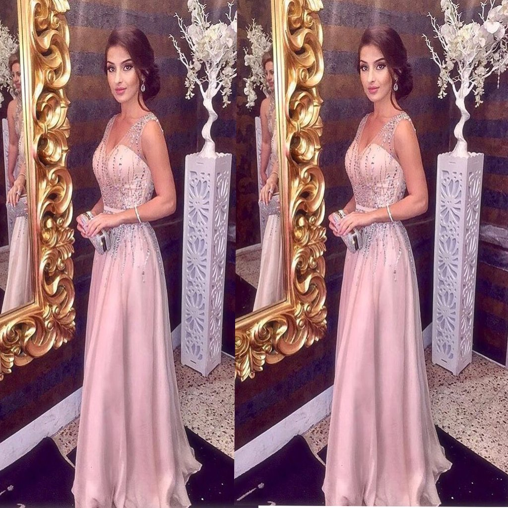 Pink Sparkly Beading V neck A Line Prom Dress,Sleeveless Long Formal Party Dress ,Evening Party Dresses,PDY0262