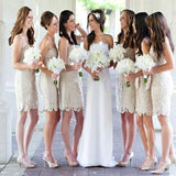 Charming Short Lace Sheath Cheap Strapless For Wedding Party ,Bridesmaid Dresses,WGY0140