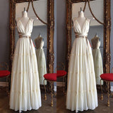 Attractive Chiffon Long Cross Back Prom Dress With Golden Sash,Party Dresses, Evening Dresses,PDY0319