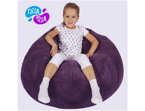 Cosy Medium Fuzzy Corduroy Purple - nuatua-bean-bags