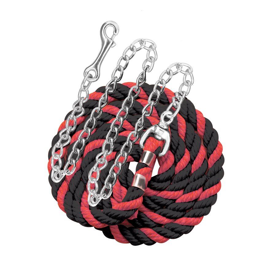 "Perri's six foot 6' Cotton Lead with 30"" Nickel Plated Chain Red and Black"