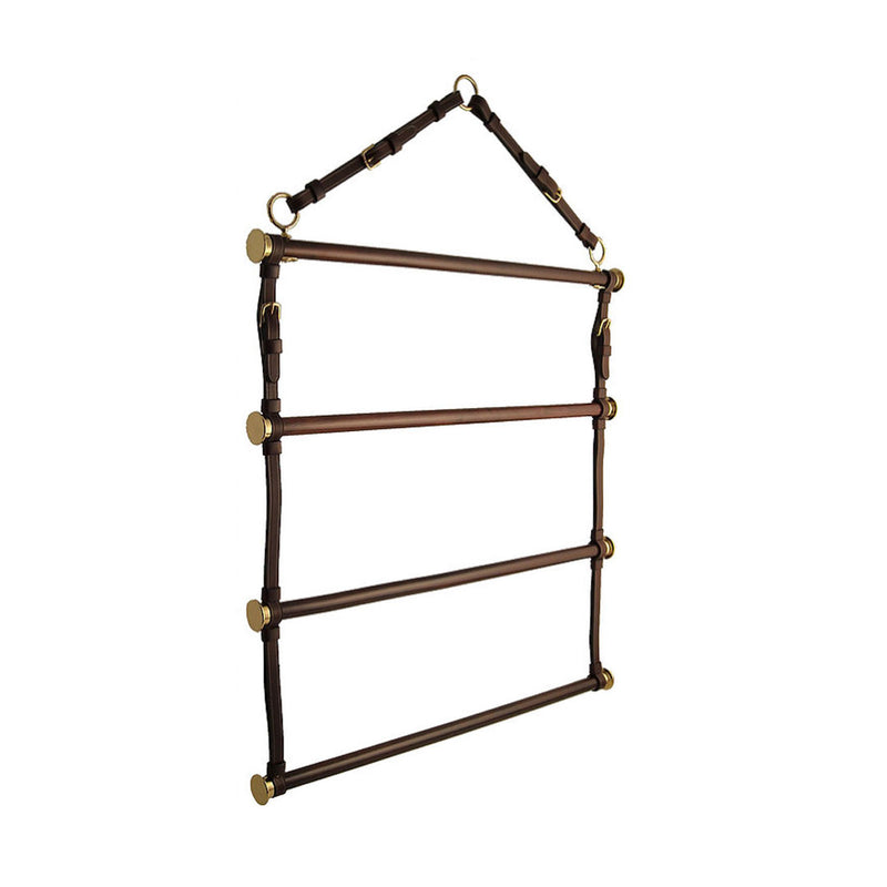 Horse Fare Blanket Racks - Leather  60344    full view in brown and brass
