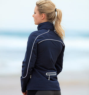 Horseware POLO Collection Eliza waterproof jacket in french navy with rear pocket detail
