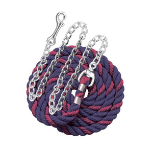 "Perri's six foot 6' Cotton Lead with 30"" Nickel Plated Chain Navy and Burgundy"
