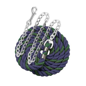"Perri's six foot 6' Cotton Lead with 30"" Nickel Plated Chain Navy Hunter"