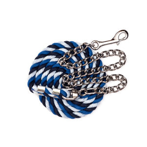 "Perri's six foot 6' Cotton Lead with 30"" Nickel Plated Chain Navy and Royal Blue and Sky Blue"
