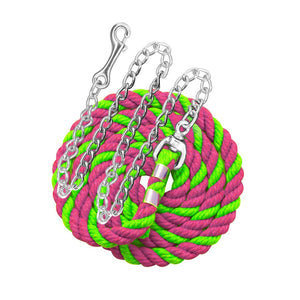 "Perri's six foot 6' Cotton Lead with 30"" Nickel Plated Chain Lime Pink"