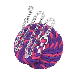 "Perri's six foot 6' Cotton Lead with 30"" Nickel Plated Chain Pink and Purple"