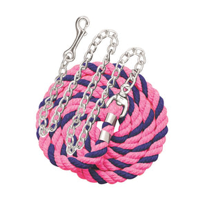 "Perri's six foot 6' Cotton Lead with 30"" Nickel Plated Chain Pink and Royal"