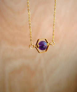 Hexagon Amethyst Necklace