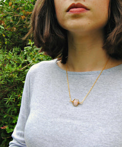 Hexagon Rose Quartz Necklace