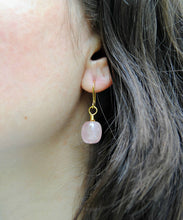 Rose Quartz Nugget Earrings