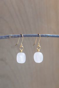 Rose Quartz Earrings Gold Plated