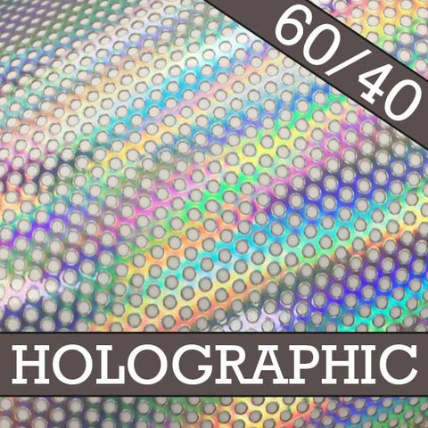"Holographic Window Perf SAMPLE ROLL 30"" x 15'"