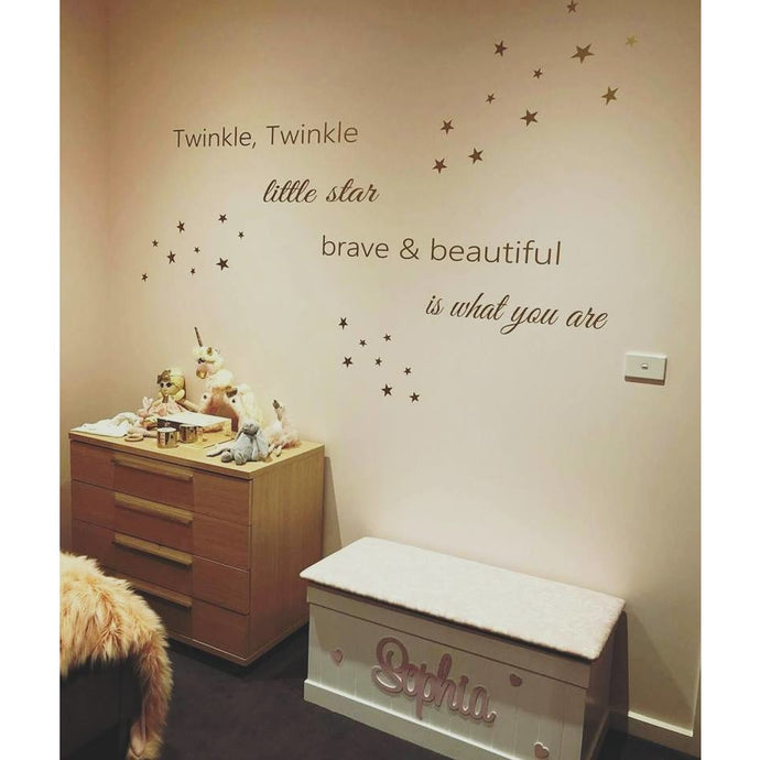 Brave & Beautiful (With stars) Removable wall decal wall quote