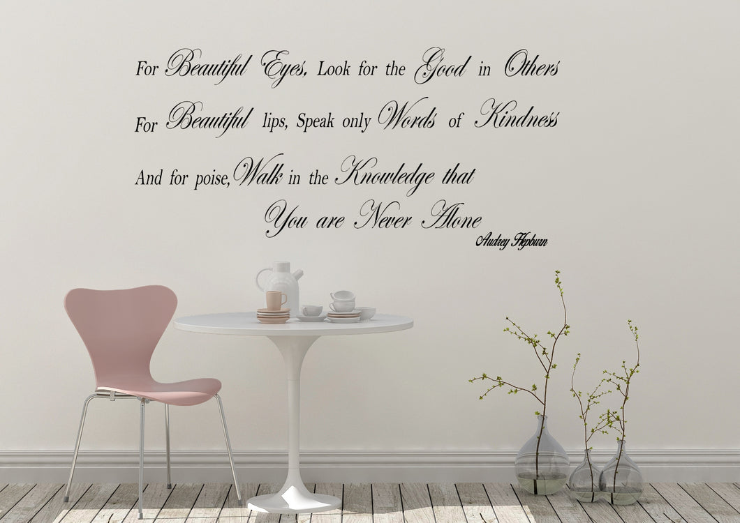 Audrey Hepburn Quote For Beautiful Eyes Emjay Alley Wall Decals