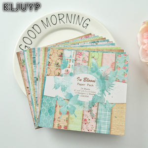 "KLJUYP 24sheets/pack 6"" Single Printed Frames pattern creative papercraft art paper handmade scrapbooking kit set books"