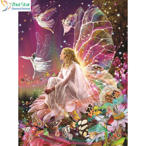 Zhui Star 5D DYI all Square drill Diamond Painting butterfly fairy Cross Stitch Rhinestones Diamond Mosaic home decor gx
