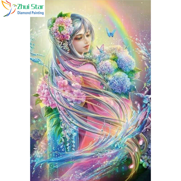 Zhui Star 5D DIY full Square drill diamond painting Cross Stitch Cartoon beauty Embroidery Rhinestone diamond Mosaic decor gift