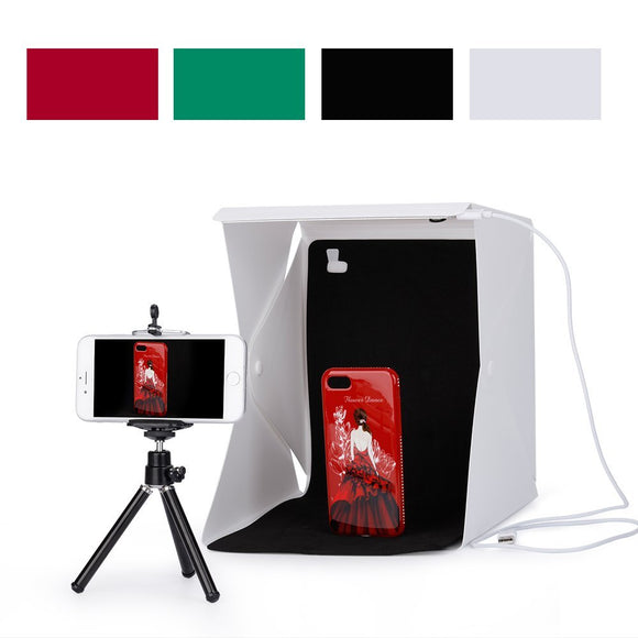 Foleto Mini Folding Studio Light Box with LED Foldable Portable Photo Lighting Studio 4 Colors Background Shooting Tent Box Kit
