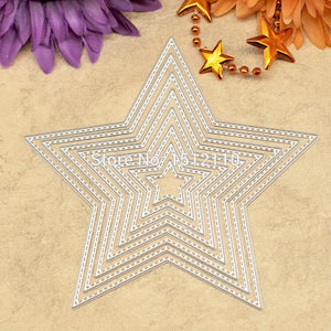 8pcs Scrapbook DIY album Card Paper Card Maker Metal Die Cut Stencil Decoration Die Cutting Five-pointed star  12cm  KW642811