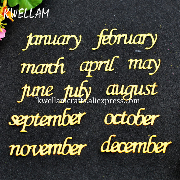 month jannuary february march april may june july Metal Die cutting Dies For DIY Scrapbooking Photo Album Embossing 7111012