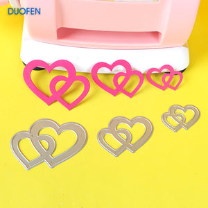 3pcs linked hearts stencil metal Cutting dies for DIY papercraft projects Scrapbook Paper Album greeting cards paper cards deco