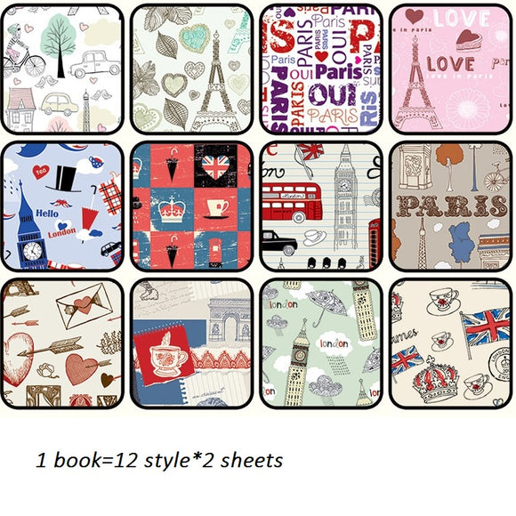 24sheets DIY Paris Romance theme gift wrapping paper creative papercraft art paper handmade scrapbooking kit set books
