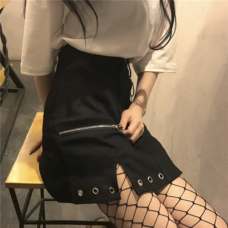 Black Zipper Skirt With Holes
