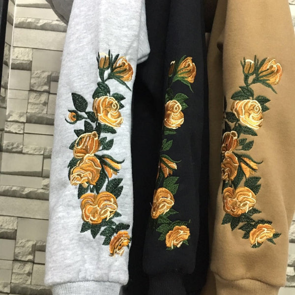 Golden Flower Embroidery Hoodie