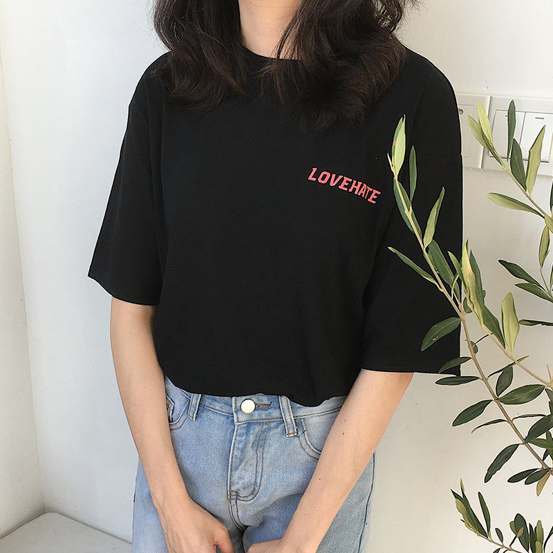 Love and Hate Shirt (Black/Beige/White)
