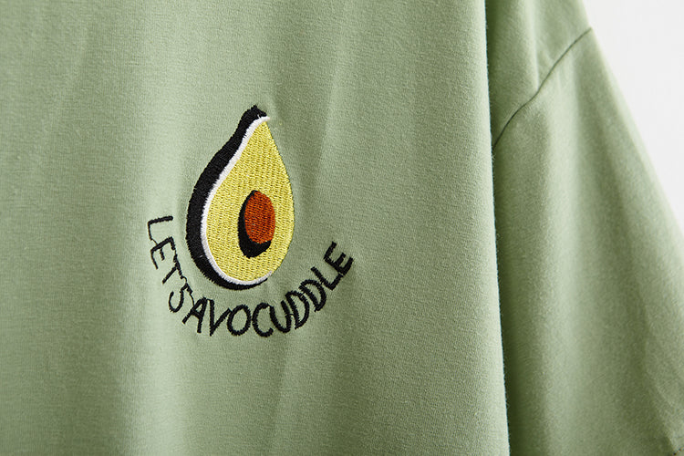 Let's Cuddle Avocado Embroidered T-Shirt (Green / White)