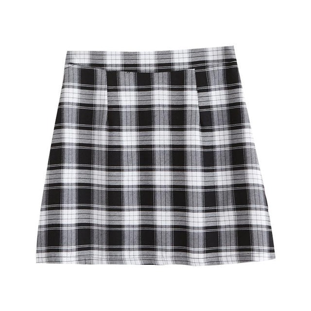 Vintage Style Plaid High Waist Skirt