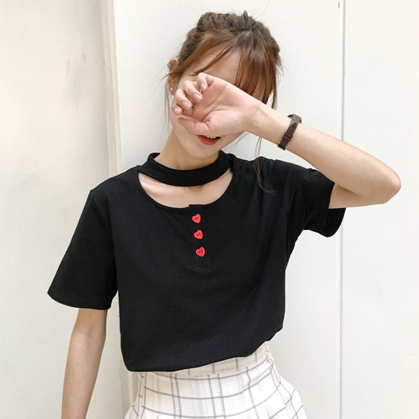 Black / White Heart Button T-Shirt With Choker