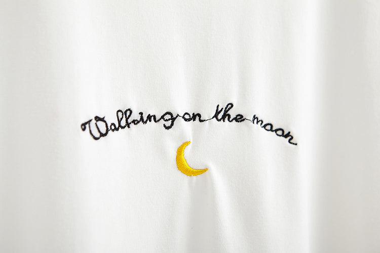 Walking on the Moon Embroidered T-Shirt (Blue/White)