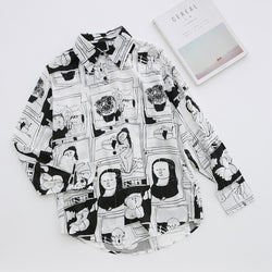 Cartoon Pattern Print Long Sleeve Blouse