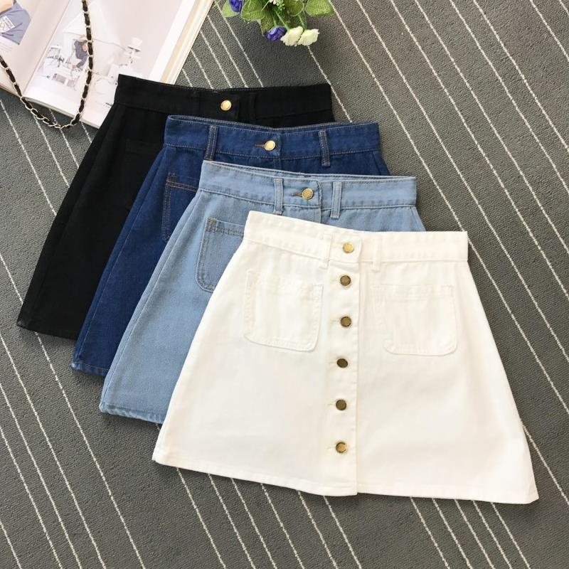 High Waist Pencil Jean Denim Skirt