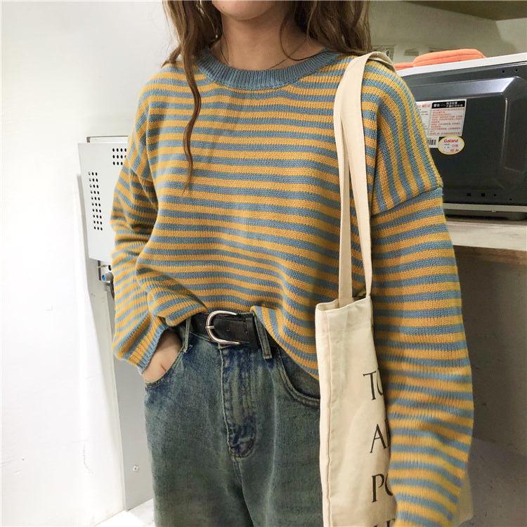 Striped Long Sleeve Sweater (Black/Yellow)