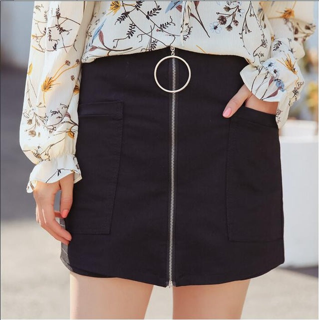 Zipper Ring Skirt (Black/White)