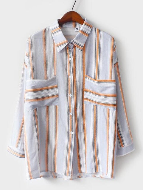 Striped Button Up Shirt (Blue/Orange)