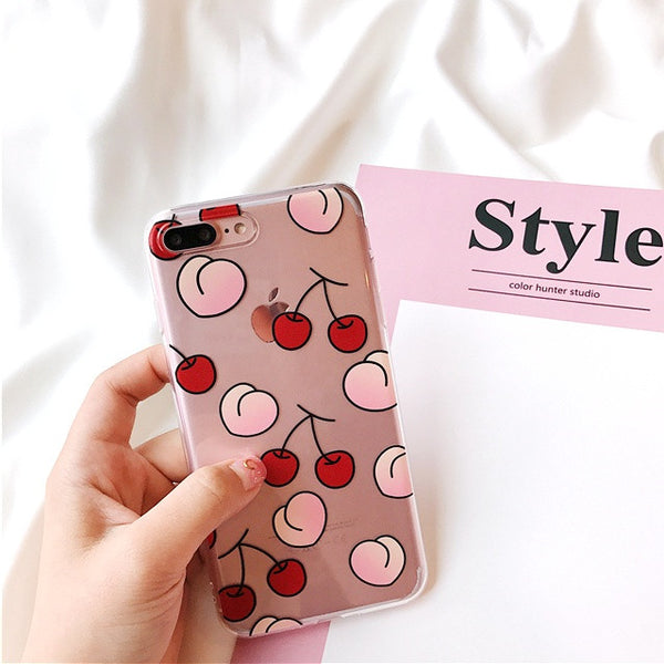 Transparent Peachy Cherry case